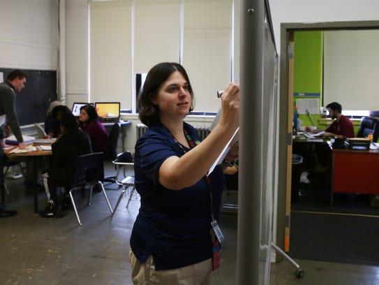 Teacher Stephanie Timm shares a classroom with other