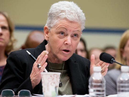 EPA Administrator Gina McCarthy testifies before a House Oversight and Government Reform Committee hearing in Washington, Thursday, March 17, 2016, to look into the circumstances surrounding high levels of lead found in many residents' tap water in Flint, Michigan. (AP Photo/Andrew Harnik)