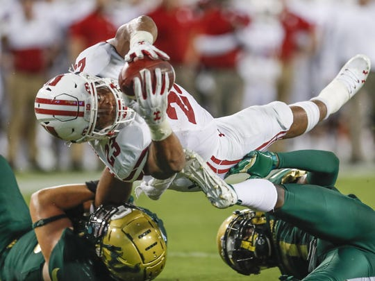 Wisconsin running back Jonathan Taylor piled up 183 all-purpose yards and four scores last week against South Florida.