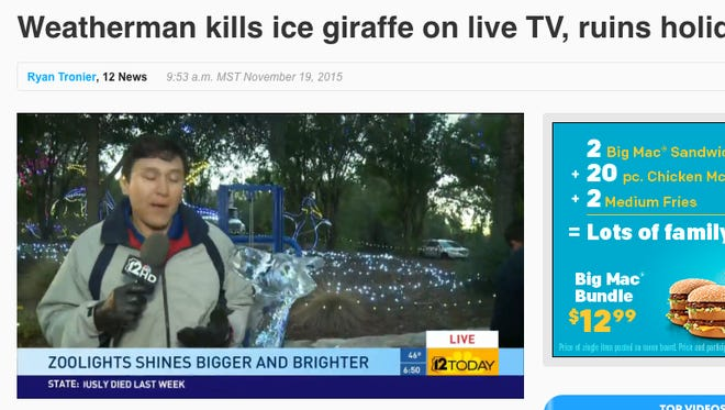 12News.com published this video and story on its web site after a broadcast that showed James Quinones knocking over an ice sculpure