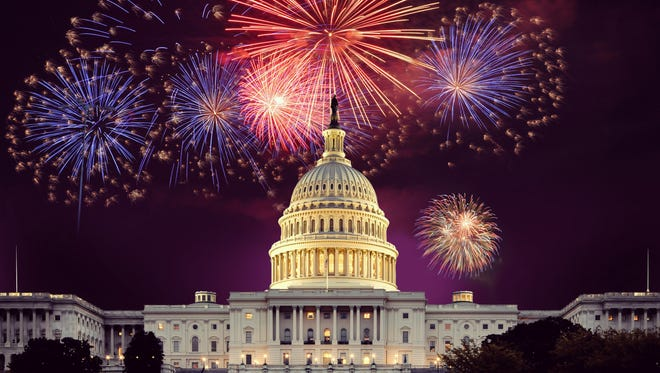 Fireworks explode over the U.S. Capitol on the Fourth of July.