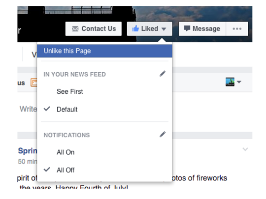 Facebook news feed options.