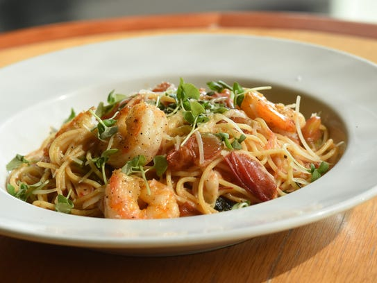 Shrimp al pomodoro, one of the dishes available at