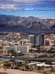View of the city of Tucson from the top of Sentinel Mountain.
