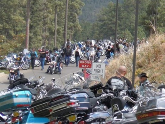 The motorcycle rally opens at 1 p.m. Wednesday. The