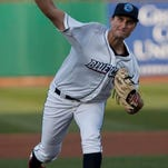 BlueClaws starting pitcher Tyler Viza throws a pitch on Thursday against Hagerstown Suns in Lakewood.