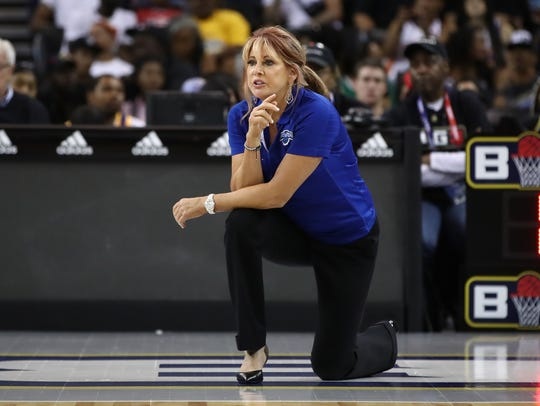 Power coach Nancy Lieberman looks on during their game