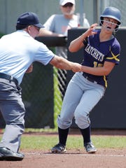 Tomahawk's Katy Volz (10) reacts to being called out at first against Poynette, Saturday June 9, 2018. The Tomahawk Hatchets competed with the Poynette Pumas in the WIAA state championship game at Goodman Diamond in Madison, Wis.