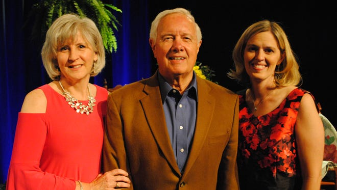 Debbie Robinson, left, Miriam's Promise executive director; Dan Elkins, The Promise award recipient; and Amanda Stanley, Miriam's Promise board chairman.