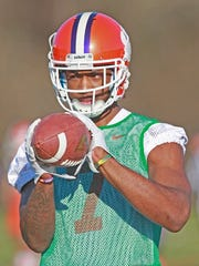 Independent Mail file photo Clemson's Mike Williams (7) catches a pass during spring practice in Clemson.