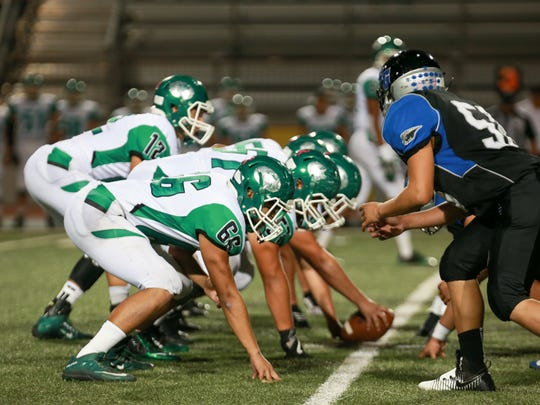 The Falfurrias offensive line was a force to be reckoned with in the first half of their game against Santa Gertrudis Academy on Friday, Nov. 4, 2016 at Javelina Stadium in Kingsville.