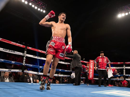 "Gilberto ""Zurdo"" Ramirez celebrates after defeating Habib ""Wild Hurricane"" Ahmed as he defends his WBO World Super Middleweight Title during the Top Rank boxing card at the American Bank Center on Saturday, Feb. 3, 2018."