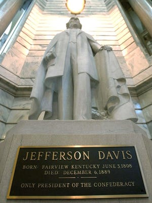 The Kentucky Historic Properties Advisory Commission voted 7-2 Wednesday to retain the statue of Confederate President Jefferson Davis in the Capitol rotunda in Frankfort, Ky.