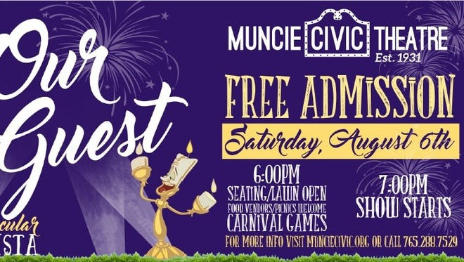 """Summer Stage Fest: Muncie Civic Theatre """"Be Our Guest"""" will run from 6-8:30 p.m. Saturday, Aug. 6 at Minnetrista, 1200 N. Minnetrista Pkwy."""