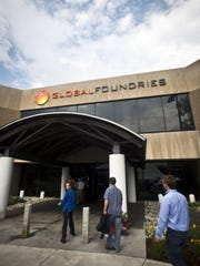 A new GlobalFoundries logo is seen on Wednesday at the former IBM fab facility in Essex Junction.