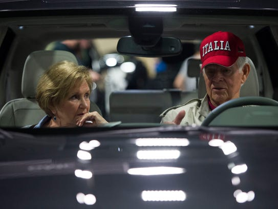Euleta and Jerry Jeffrey, of Loudon sit in a car at