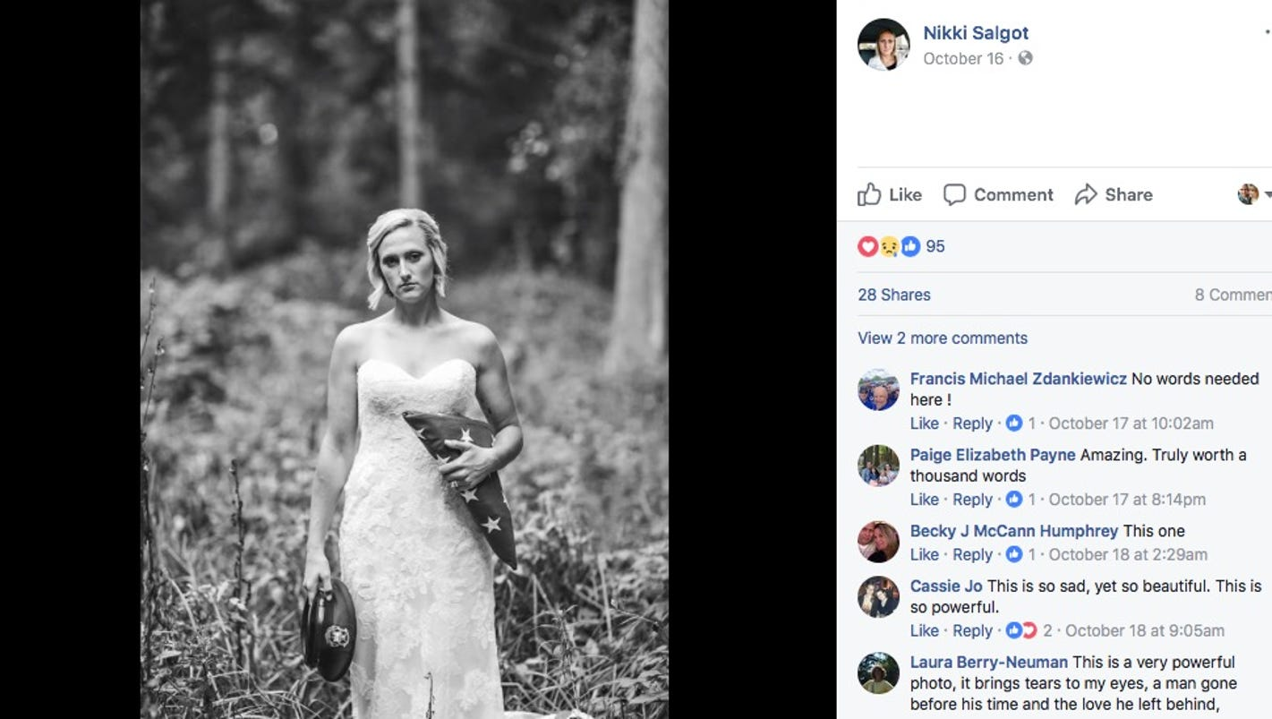 After fiancé's death, Michigan bride poses for powerful wedding photos alone