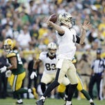 New Orleans Saints quarterback Ryan Griffin throws during the first half of Thursday's preseason game at Green Bay.