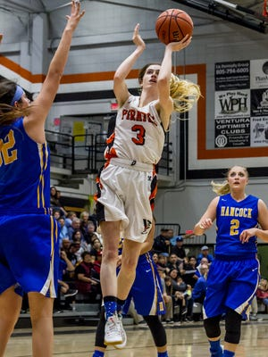 Katie Campbell gets off a running layup in the Ventura College women's basketball team's win over Hancock earlier this season.