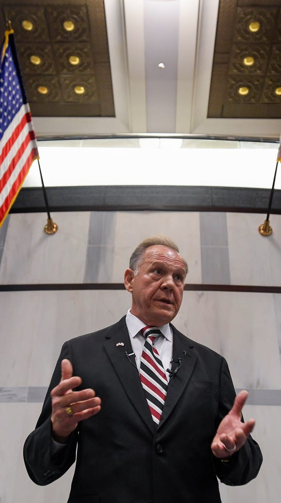 U.S. Senate candidate Roy Moore holds a press conference