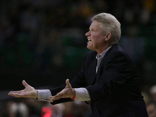 Iowa State head coach Bill Fennelly reacts to a play against Baylor in the first half of an NCAA college basketball game, Wednesday, Jan. 3, 2018, in Waco, Texas. Baylor won 89-49. (Rod Aydelotte/Waco Tribune-Herald via AP)