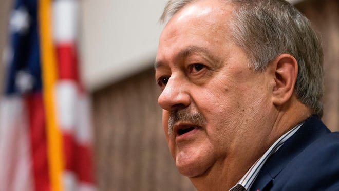 Former Massey CEO and West Virginia Republican Senatorial candidate, Don Blankenship, kicks off his campaign in Logan, W.Va., on Jan. 18, 2018.
