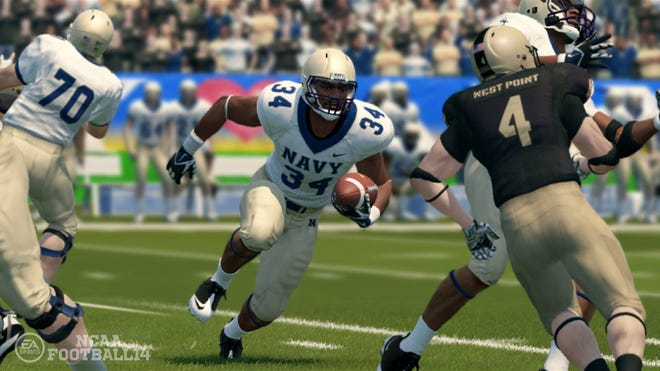 """Hand out photo of """"NCAA Football 14."""