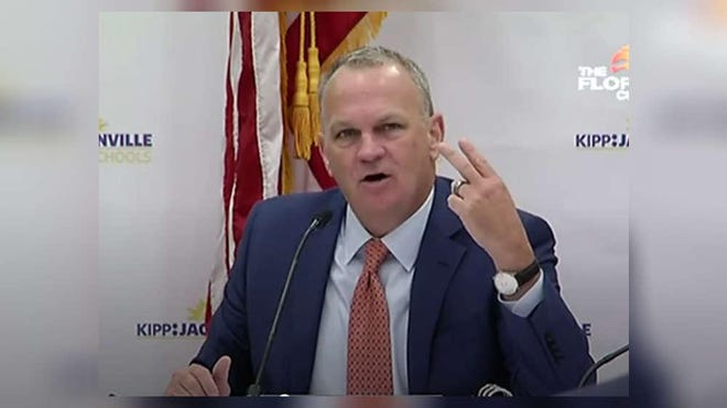 Florida Education Commissioner Richard Corcoran speaks at Friday's meeting of the state Board of Education.