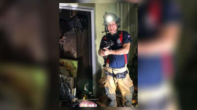 Firefighters saved three two dogs and a cat from a house Friday night in Juno Beach. Four people were displaced by the fire.