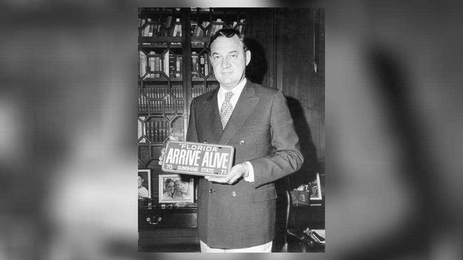 Gov. Claude Kirk (1967-1971), shown displaying a vanity automobile license plate in 1970, was the first Republican elected governor in Florida since Reconstruction.