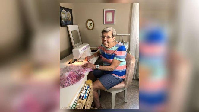 Zola Chieppa, a 91-year-old Nebraska native who lives at Tequesta Terrace Assisted Living, spends much of her time sewing clothing and other items for people in need.