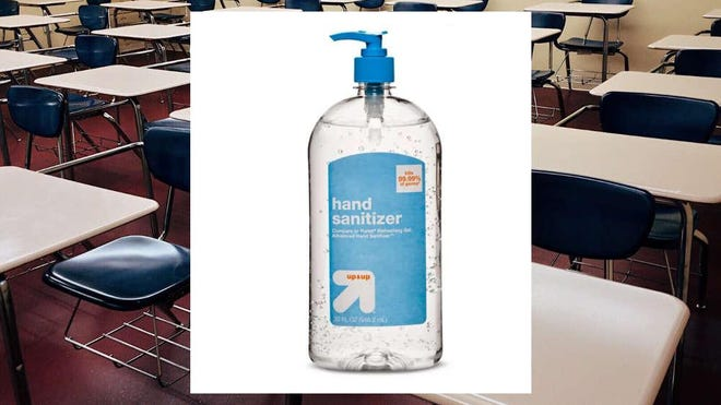 The hand sanitizer placed in the student's mouth was Up and Up Hand Sanitizer, which is composed primarily of ethyl alcohol and intended to decrease bacteria on the skin.
