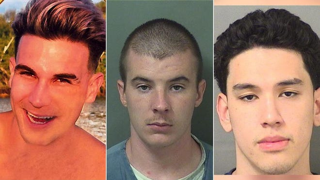 The 2016 murder of Jacob Walsh (left) led to the arrests of Matthew Lewis (center) and Jonah Horne (right).