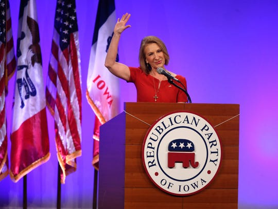 Carly Fiorina spoke on Saturday, May 16, 2015, during