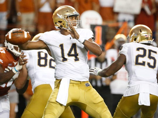 Notre Dame quarterback DeShone Kizer passed for 215 yards and five touchdowns, and ran for 77 yards and another score in a 50-47 double-overtime loss at Texas on Sept. 4.