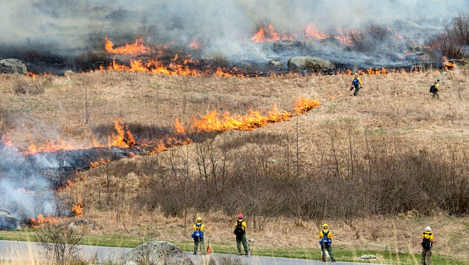 National Parks Services regional fire management specialists watch the burn throughout Little Round Top, Monday, April 10, 2017. The prescribed fire burned 52 acres of Little Round Top at Gettysburg National Military Park. It is the park's biggest controlled burn to date.