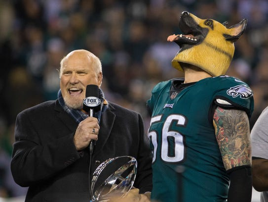 The Philadelphia Eagles celebrate as they win the NFC