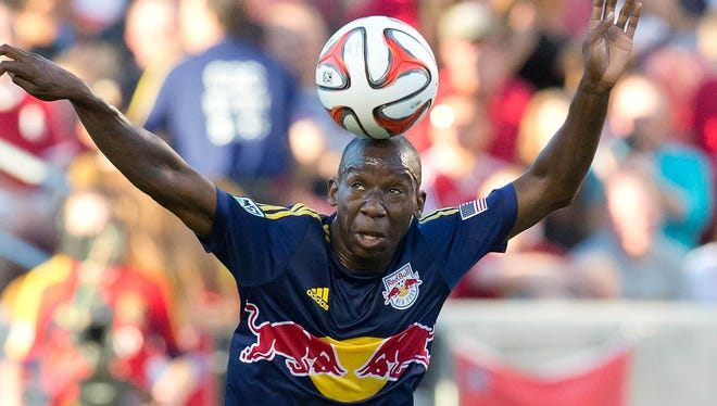 New York Red Bulls forward Bradley Wright-Phillips controls the ball during the first half against Real Salt Lake at Rio Tinto Stadium.