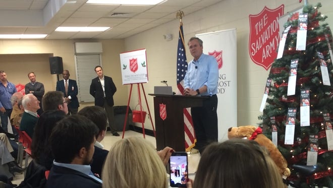 Republican presidential candidate Jeb Bush speaking at the Salvation Army campus on Rutherford Street Tuesday.