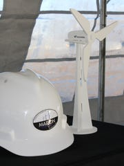 A model of the 1.5-megawatt Goldwind turbines that will be constructed at the Whirlpool Corp. plant in Marion was on display during a ground breaking ceremony on Wednesday. Three turbines will be built at the plant.