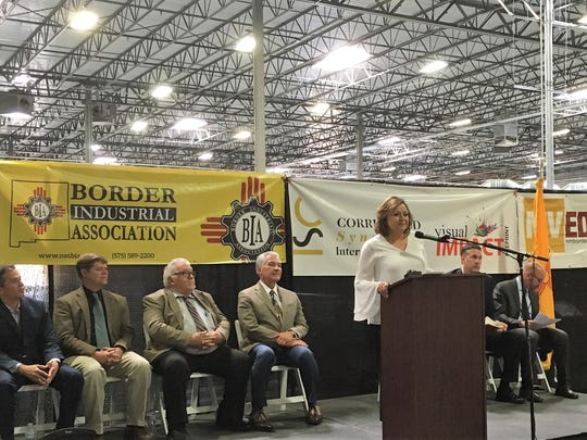 Gov. Susana Martinez, at podium, spoke at a ribbon-cutting
