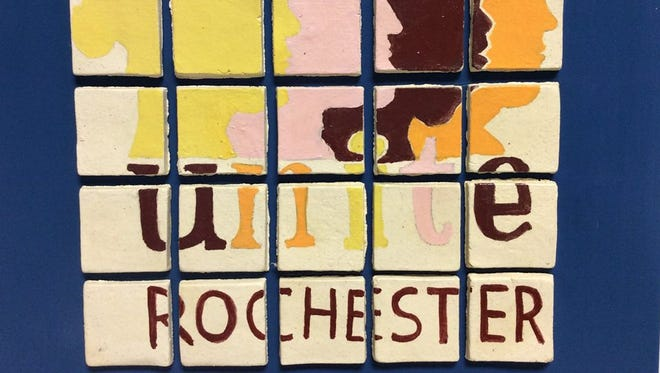 This mosaic of the Unite Rochester logo was created by Art Force Five, one of the 10 finalists in the Unite Rochester Challenge.