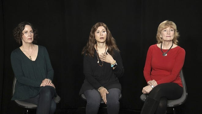 Dustin Hoffman accusers Anna Graham Hunter, from left, Cori Thomas and Kathryn Rossetter during an interview in New York.