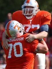 Keansburg celebrates a touchdown with Jason Wombough