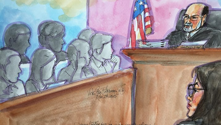 In this courtroom sketch drawn March 24, Judge Harold