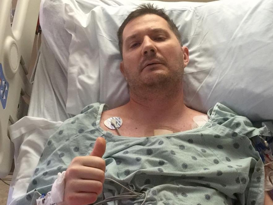 Bryan Fisher after receiving his new heart in Indianapolis.