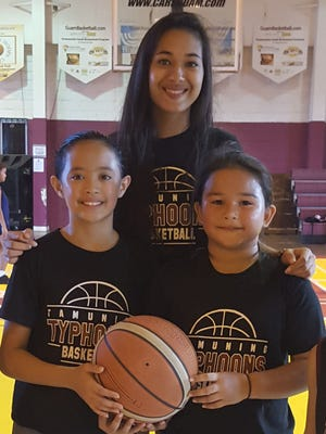 Kali Benavente, a member since 2006, is pictured with 11U Jordyn Zacarias and Rosita Kuper. The Tamuning Typhoons Basketball Club 2017 season kicks off on Friday at Tamuning Gym. New and returning members can register 4-7 p.m. Visit www.guambasketball.com for more info and to download registration form.