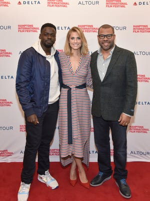 """Actor Daniel Kaluuya, Actress Allison Williams and Director Jordan Peele attend a red carpet for """"Get Out"""" a movie who's ambiguous trailer worked well in the movie's favor."""