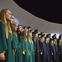 """The Sauk Rapids-Rice High School concert choir performs """"Good Riddance (Time of Your Life)"""" by Green Day during 2015 commencement."""