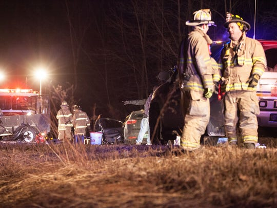Fire department members at the scene of the fatal U.S 7 crash.